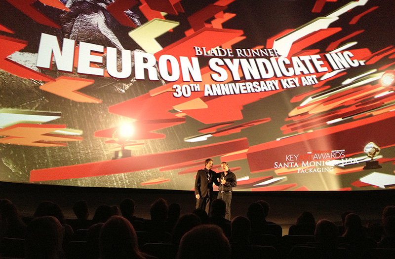 Ryan Cramer & Sean Alatorre on the big stage accepting Neuron Syndicate's 2012 Key Art Award. Neuron Syndicate won a Gold Award for Blade Runner 30th Anniversary Key Art and a Bronze for Forver Marilyn Packaging